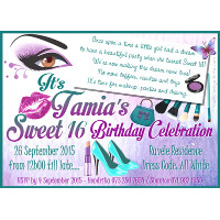 Sweet 16 Makeup Invitation