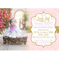1st Birthday Pink & Gold Invitation
